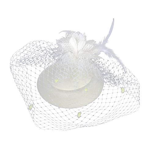 Suma-ma Vintage Mesh Veil Fascinator Hat Headwear, Women's Derby Tea Party Hair Clips Flower Cap Hair Accessories(White,1pcs)