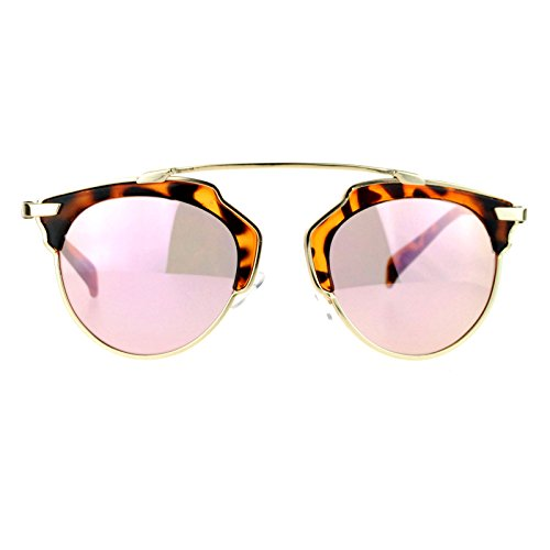 SA106 Womens Metal Outline Bridgeless Half Rim mirrored Sunglasses Tortoise - Outline Tortoise