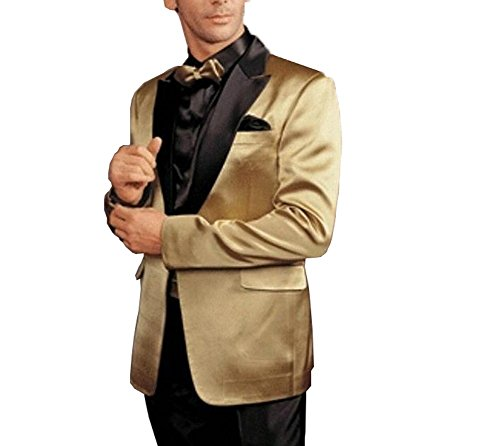 GEORGE BRIDE Gold Tuxedos Formal Men's Suit 2-Piece Suit Jacket, Suit Trousers,2XL -