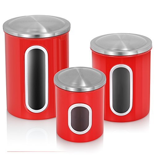 Set Canister Window (Fortune Candy Canister Set for Kitchen 3 Pieces Stainless Steel Food Storage Canisters with Airtight Lid Multi-purpose Kitchen Canister, Red)