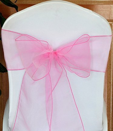 ATCG 25pcs Beautiful Organza Chair Cover Ribbon Sash for Wedding & Banquet Decor (LIGHT PINK) - Ribbon Chair Cover