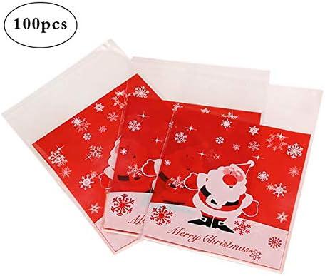 Qifumaer Lot de 100pcs Sachets Pochettes Sac demballage Sacs /à Bonbons de No/ël pour Cookies Biscuits Bonbons 10 10+3cm