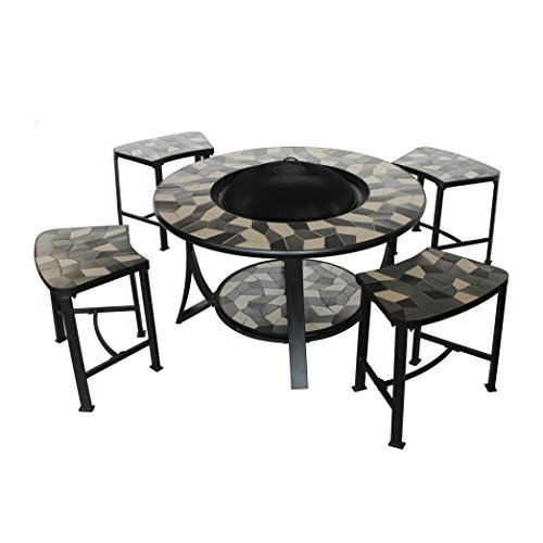 - ALEKO FPT016 Round Mosaic Tile Convertible Fire Pit Table with 4 Coordinating Stools Complete Patio Set 36 x 24 x 18 Inches Black and Grey
