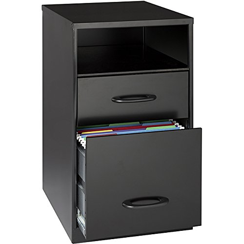 Black Steel 2-drawer File Cabinet with Shelf for Home, Office or Work Place by Office Designs