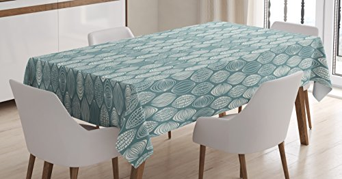 - Ambesonne Geometric Tablecloth, Different Type of Oval Figures Doodle Round Leaf Textured Harvest Graphic, Dining Room Kitchen Rectangular Table Cover, 52 W X 70 L Inches, Turquoise Coconut