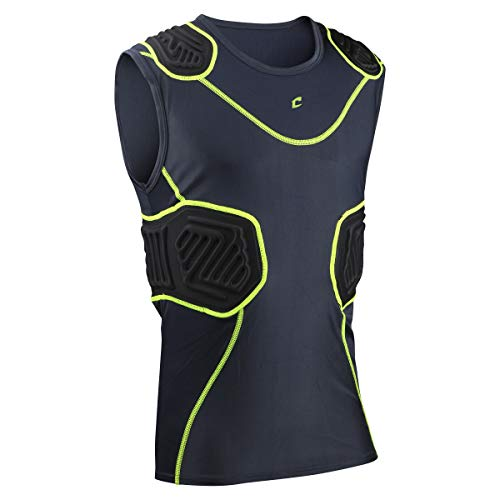 CHAMPRO Youth Bull Rush Compression Shirt, Size: L, Charcoal, Black Inset