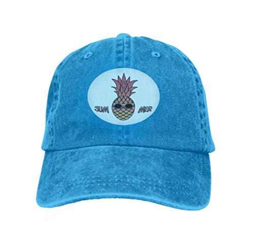 - Unisex Baseball Caps Adjustable Plain Dad Hat Sun Cap Summer Pineapple Sunglasses Design Clothes Apparel Logo Post Blue