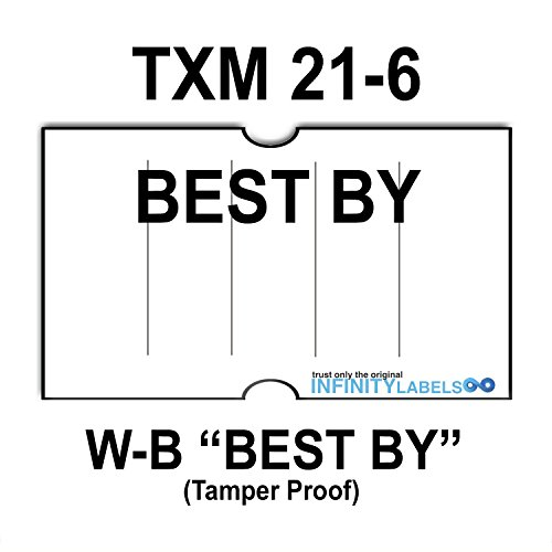 240,000 X-Mark 2112 compatible ''Best By'' White General Purpose Labels to fit the X-Mark TXM 21-6 Price Guns. Full Case. Ink rollers not included. by Infinity Labels