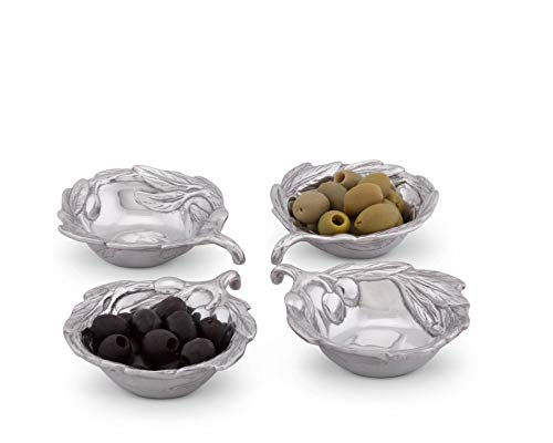 Arthur Court Sand-Cast Aluminum, Set of 4 Olive Pattern Sauce - Dipping Tuscan Bowl