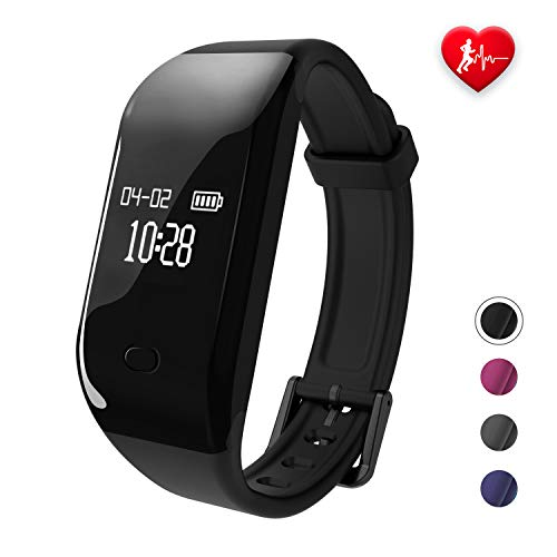 Fitpolo Fitness Tracker HR,Activity Fit Tracker with Heart Rate&Sleep Monitor,Pedometer Step&Calorie Counter,IP67 Waterproof Smart Watch Wristband for Kids,Men,Women for iPhone Android (Black)