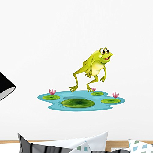 Wallmonkeys Jumping Frog Pond Wall Decal Peel and Stick Graphic (18 in W x 14 in H) WM245789 ()