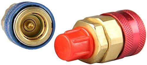 R134a Connecteur de coupleur rapide pour voiture automatique Laiton Kit de conversion tuyau de jauge de collecteur CA bas et haut pour HVAC Auto Car Air Conditioning Adaptateur R134A r/églable 1 paire