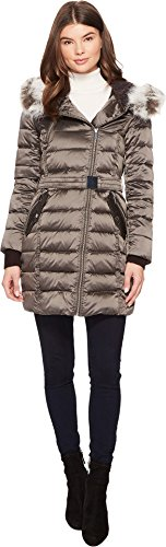 4777308ab French Connection Women's Down Coat with Belt and Sherpa Lined Faux Fur Hood,  Gunmetal, L