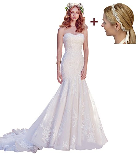 Sweetheart Mermaid Neckline Bodice Bridal Ivory4 Wedding Womens Applique Annies Lace Gown pqST1a