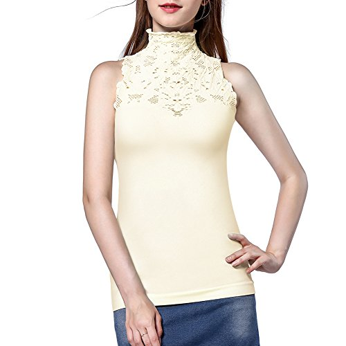 DISBEST Women's Tank Tops, Lace Hollow High Neck Sleeveless Stretch Casual Sweater T-Shirt,Cream White,XL/US 10