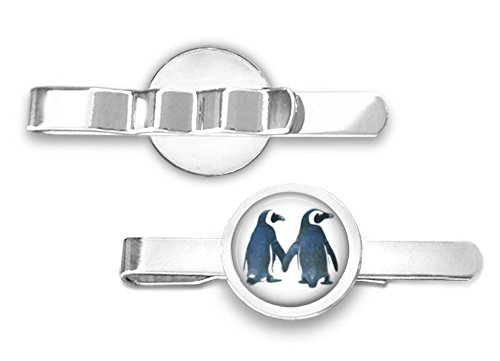 Penguin Couple Tie Clip - Penguin Tie Bar (Silver-Plated) by Oakmont Cufflinks