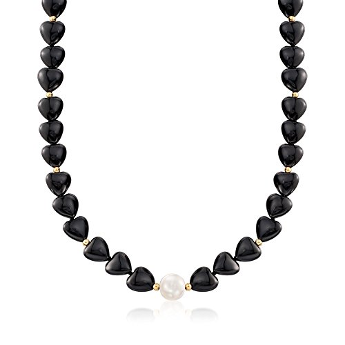 (Ross-Simons 10-10.5mm Cultured Pearl and Black Onyx Heart Bead Necklace With 14kt)