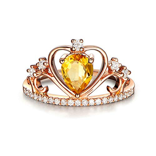 EoCot Custom Silver Plated Crown Ring for Women Pear Cut Yellow Citrine Bridal Promise Engagement Ring Size 8