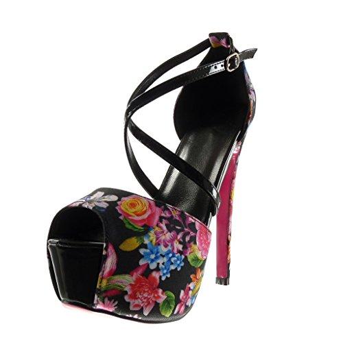 Plateforme Noir Fleurs Angkorly Haut Aiguille Lanière Stiletto Chaussure 15 Sexy Cm Femme Mode Sandale Talon Escarpin qFxBwFXSA