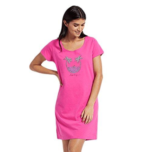 Good Sleep Tee (Life Is Good Womens Sleep Tee Dress Drift Away, Fiesta Pink, Large)