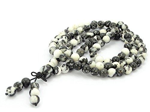 jennysun2010 Handmade Multi-Purpose Natural 8mm Black and White Zebra Gemstone Buddhist 108 Beads Prayer Mala Stretchy Bracelet Necklace Healing 38