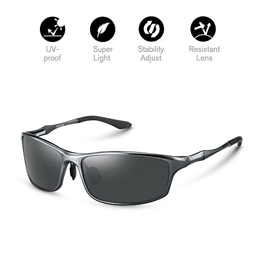 Sunglasses Men's Polarized UV400 protection Classic Retro Wayfarer lightweight - Oval Men Face Best Glasses For