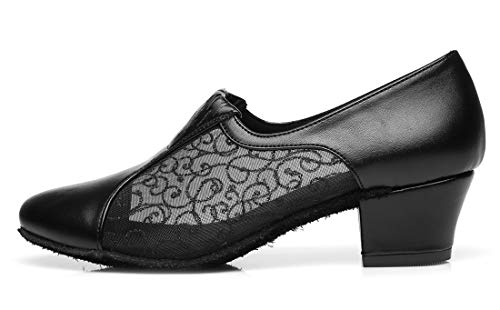 Minitoo Toe Heel Block Slip Closed Shoes Black on Salsa Dancing Low Ballroom Latin Women's UqSrU