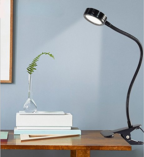 New Dimmable LED Clip Lamp,6W Flexible Gooseneck Task Light Headboard Reading Light for Bedside Reading Workbench Studio - 5 Color Temperatures -5 Brightness Levels,Button Control Panel