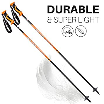 Zipline Ski Poles Carbon Composite Graphite Lollipop U.S. Ski Team Official Ski Pole – Choose Color and Size Orange, 46 in. 117 cm