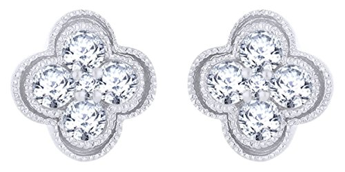 Round Brilliant Cut White Natural Diamond Flower Stud Earring in 14K White Gold (0.28 Cttw)