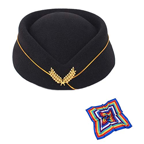 (TDAICHAN Cosplay Cap Wool Felt Stewardess Hat for Costume Accessories Beret Hat (Black with Silk))