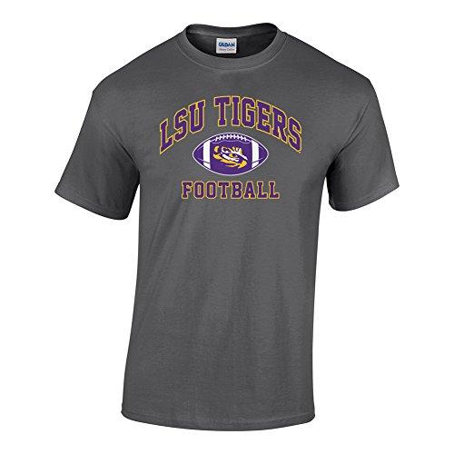 Elite Fan Shop LSU Tigers Tshirt Football Arch Heather Gray - L - Charcoal Heather Gray Grey