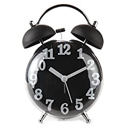 Lily's Home 4 Quiet Non-ticking Silent Quartz Twin Bell Alarm Clock With Loud Alarm and Nightlight (Black)