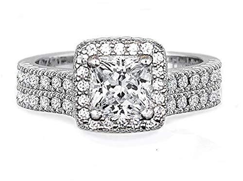 - Venetia Top Grade Realistic 1 Carat Princess Cut Simulated Diamond Ring Band Set 925 Silver Halo Design cz sq6halo6