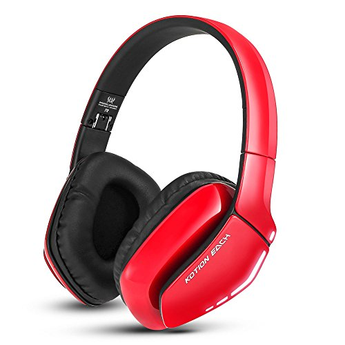 Bluetooth Headphones Foldable Gaming Headset V4.1 with Mic for PC Mac Smartphones omputers (Red)