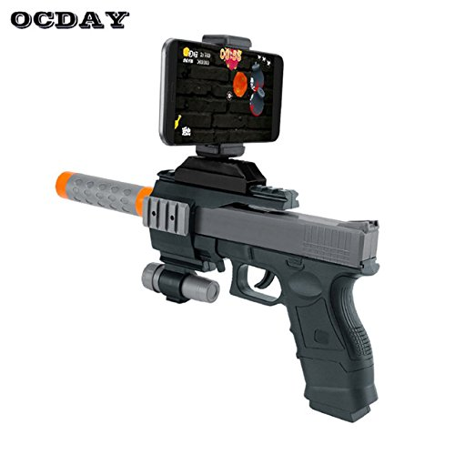 Toy, Fun, Game, Bluetooth AR Game Gun with Cell Phone Stand Holder 3D AR VR Game Gun Toy for Android iPhone Phones Indoor Outdoor Game Toys Hot, Children, Kids, Play by Play & Fun