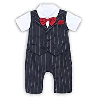 Baby Boy Suit, Toddler Short Sleeve Rompers Infant Outfit Onesie with Bow tie...