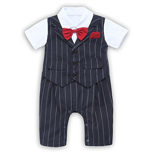 [Baby Boy Suit, Toddler Short Sleeve Rompers Infant Outfit Onesie with Bow tie Black 70(3-6 Month)] (Onesie Suit)