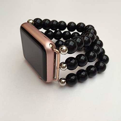 The Original BandyLand™ Beaded Apple Watch Stretch Band - 38mm or 42mm Black and Silver Beaded Apple Watch Band. Customized to Fit. Made in and shipped from the -