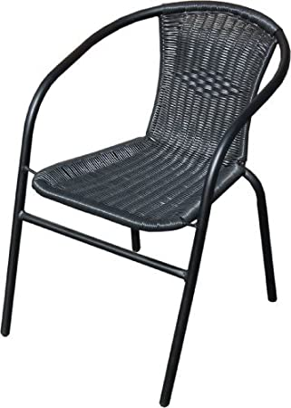 Black Outdoor Wicker Rattan Bistro Chair Metal Frame Woven Seat Indoor  Outdoor