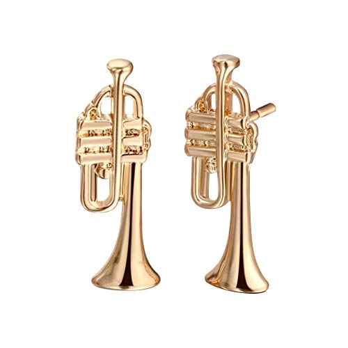 (Tiny Trumpet Saxophone French Horn Shaped Stud Earrings Musical Instrument Themed Jewelry for Music Lover (Saxophone Gold))