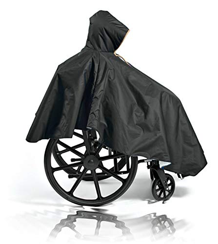Comfort Finds Wheelchair Summer Poncho - Adult Elderly Seniors Wheelchair Cape - Durable Quality Poly/Cotton Lined - Full Waterproof Coverage Zip Front Hood (Single Pack, Black)