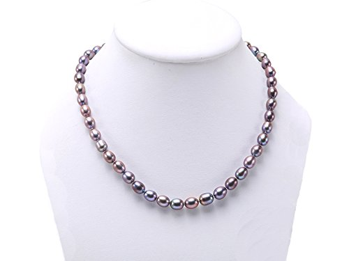 Black Freshwater Cultured Pearl Necklace - JYX 7-8mm Oval Black Freshwater Cultured Pearl Necklace (Adjustable Length)