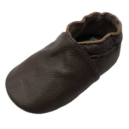 Yalion Baby Boys Girls Shoes Crawling Slipper Toddler Infant Soft Leather First Walking Moccs(Dark Brown,6-12 Months) - Image 8