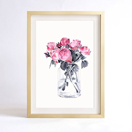 flower-art-print-of-original-watercolor-painting-7x10-silent-as-enigmaserie-rose-and-glass-valentine