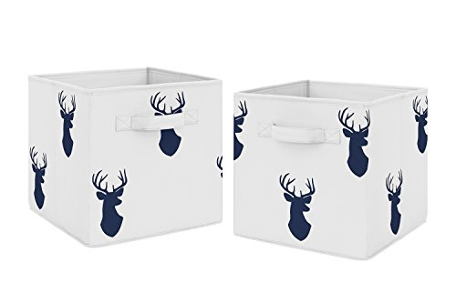 - Navy Blue Deer Foldable Fabric Storage Cube Bins Boxes Organizer Toys Kids Baby Childrens for Woodland Deer Stag Collection by Sweet Jojo Designs - Set of 2