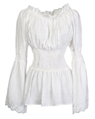Charmian Women's Long Sleeve Off Shoulder Lace Trim Blouse Tops White Medium]()