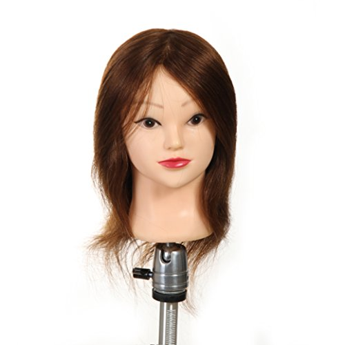 Price comparison product image DFX(TM) Cosmetology Mannequin Manikin Training Head Model with 100% Human Hair and Clamp Holder (16 inches Medium Brown)