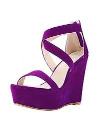 Women's Open Toe Comfort Ankle Strap Platform Wedge Sandal