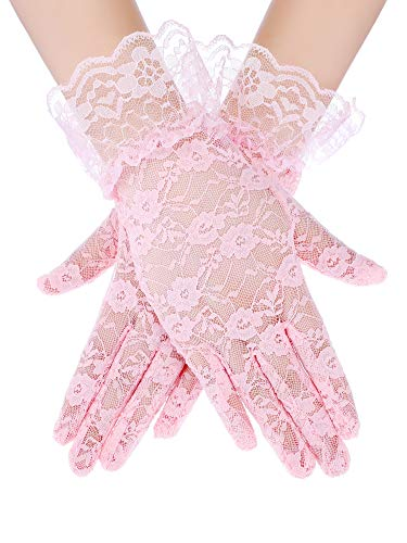 SATINIOR Ladies Lace Gloves Elegant Short Gloves Courtesy Summer Gloves for Wedding Dinner Parties (Pink 1)
